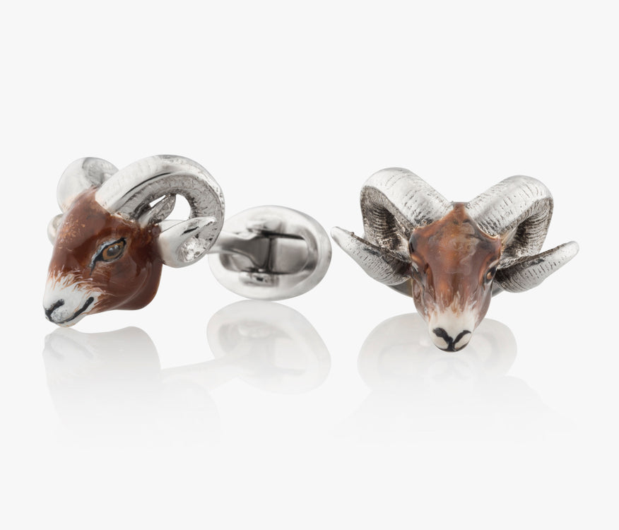 Ram Head Cufflinks in Silver handpainted enamel Fils Unique