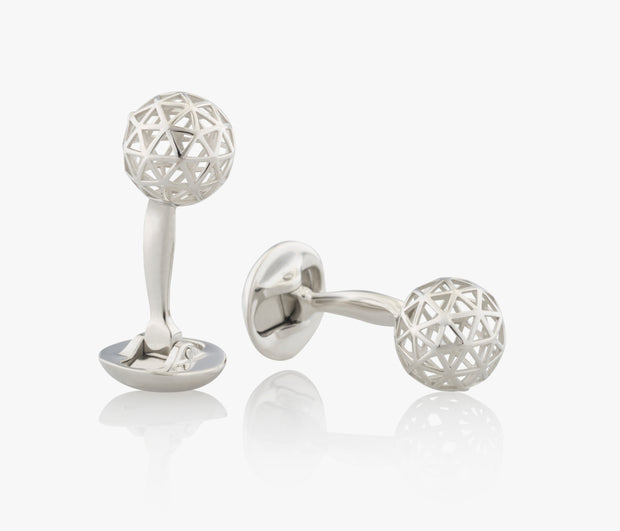 Sphere Luxury Cufflinks in Silver handcrafted Fils Unique the Influence