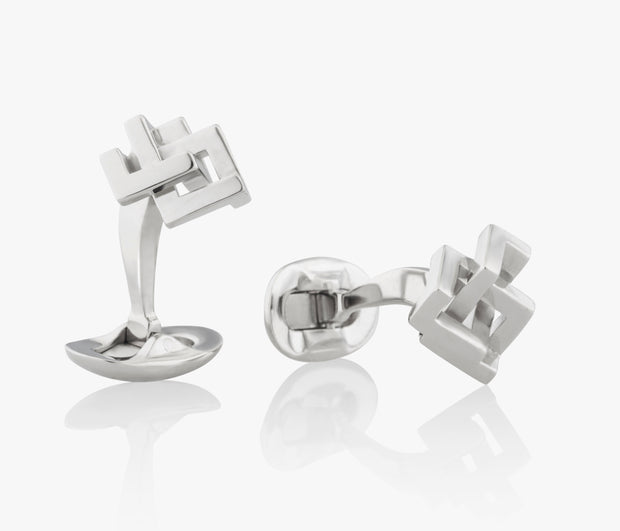 Square Angular Knot Luxury Cufflinks in Silver handcrafted Fils Unique the Angle