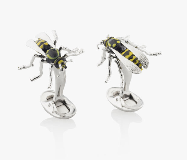 Wasps Spikes Luxury Cufflinks in Silver handpainted enamel Fils Unique The Wasps