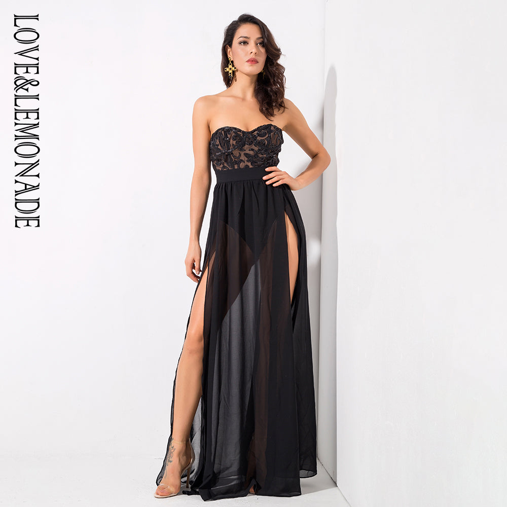 6ddbb64405 Black Sexy Tube Top Cut Out Sequins Chiffon Party Dress – Bodied by Ari