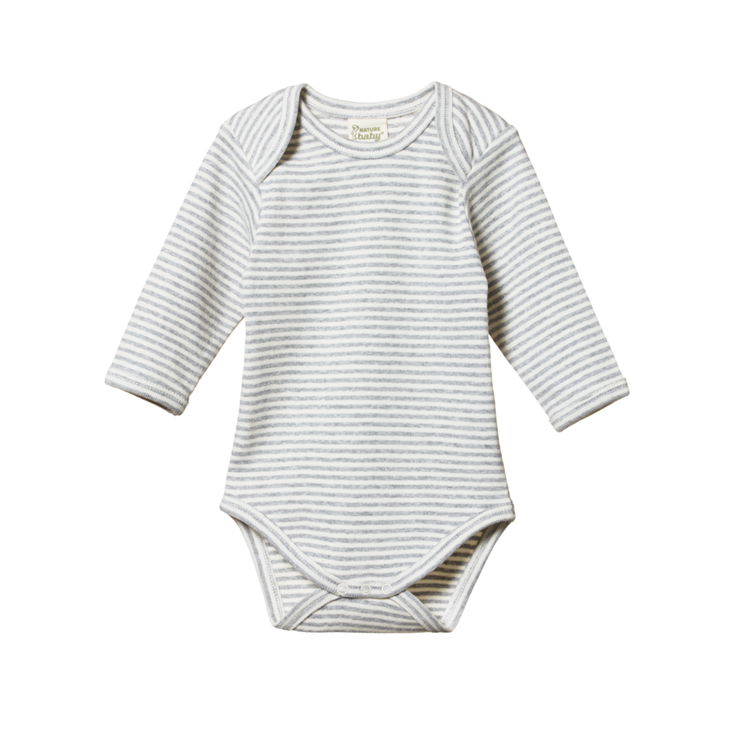 Cotton Long sleeve Bodysuit- Grey Stripe