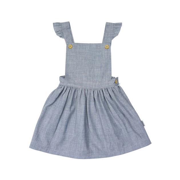 Natural Girl Frill Pinafore Dress- Blue