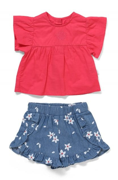 Short Sleeve Top and Chambray frilled Shorts