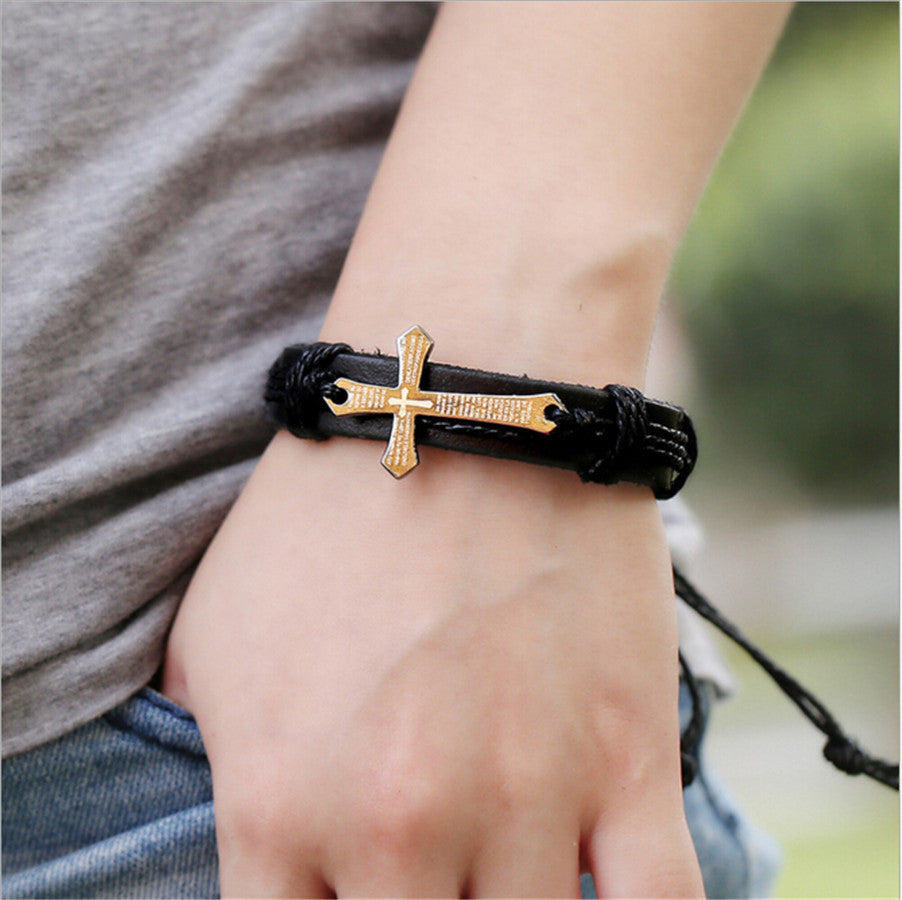 ClassiKids Leather Bracelet with Cross