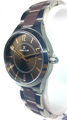 Analog Two Tone Watch - Chocolate/Silver