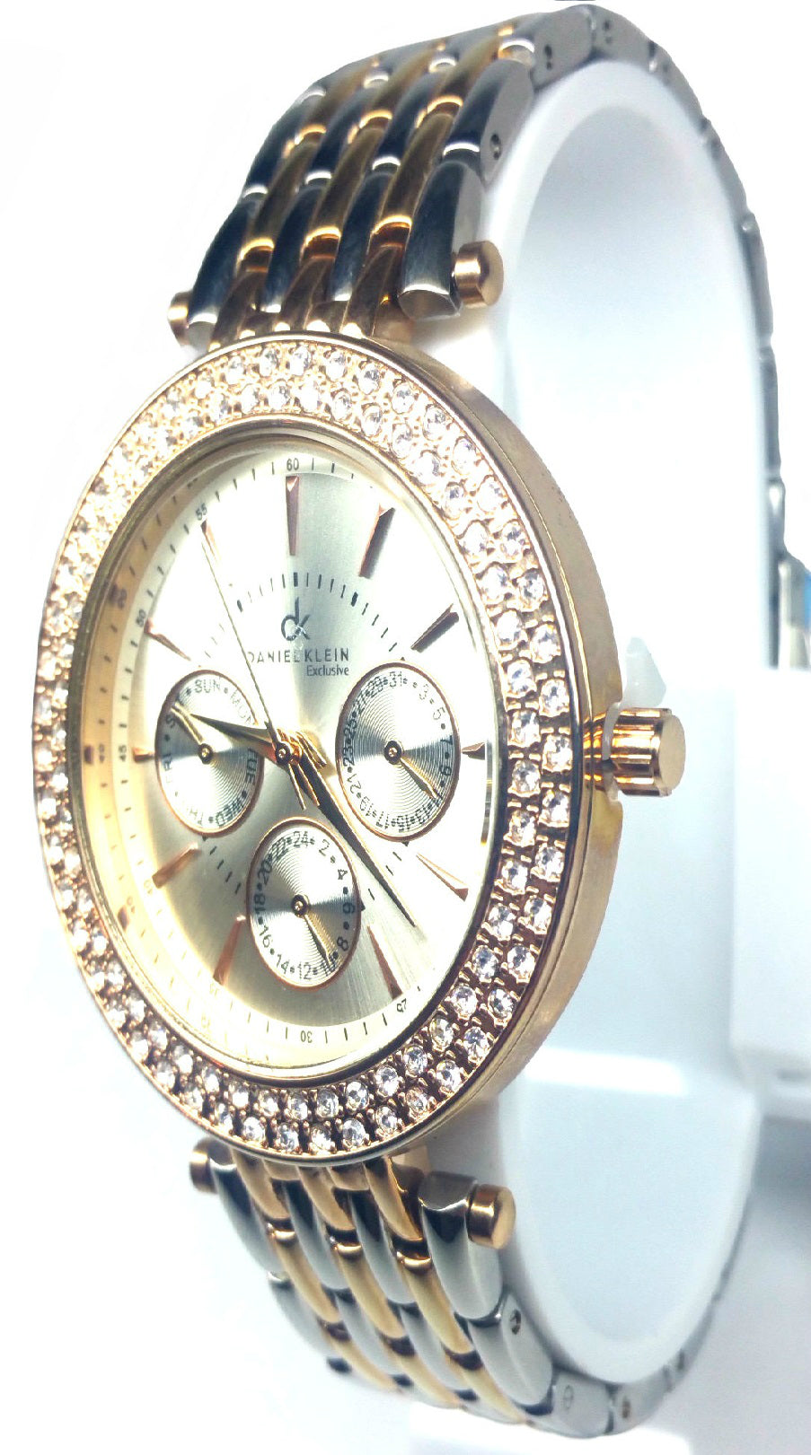Chronograph Diamond  Two Tone Watch - Rose Gold/Silver