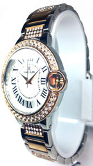 Analog Diamond Two Tone Watch - Silver/Rose Gold