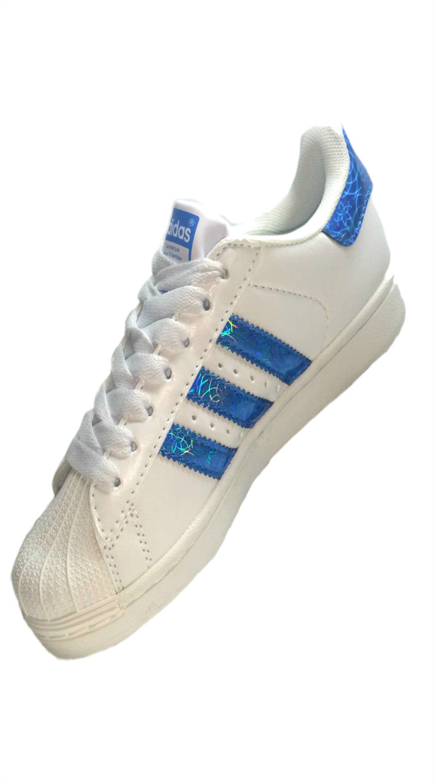 Adidas Superstar White/Blue Stripes