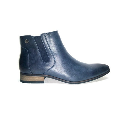Formal Slip On Zip Up Ankle Boot - Navy