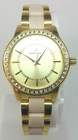 Two Tone Analog Watch- Gold/White
