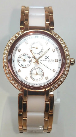 Two Tone Analog Watch- Rose Gold/White