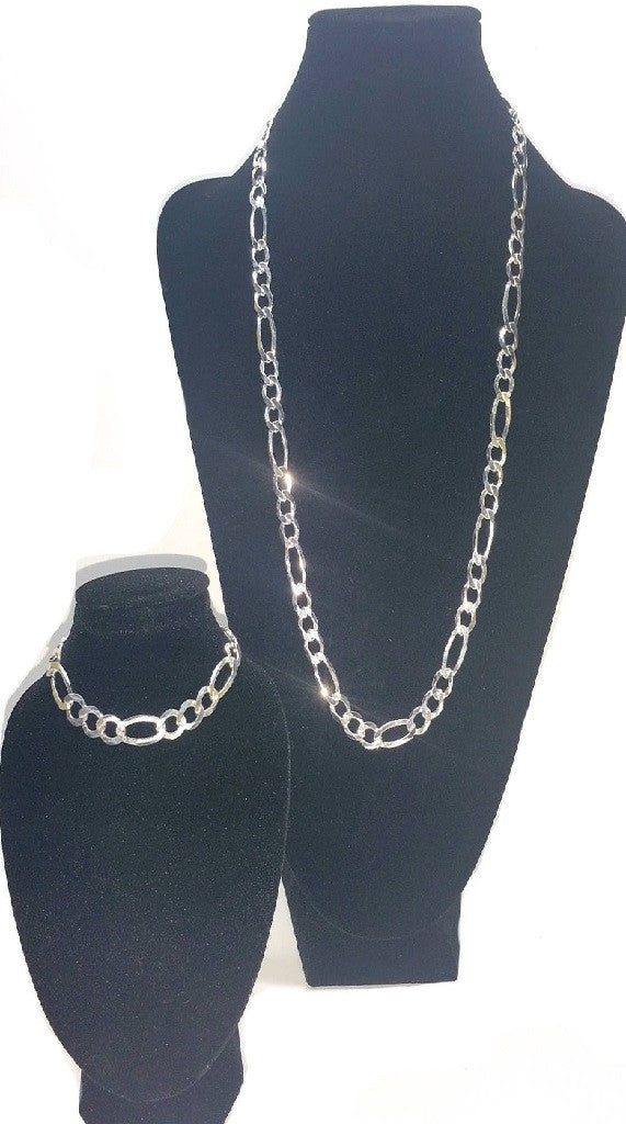 925 Sterling Silver Figaro Link Set - 60cm/8mm