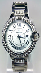Analog Diamond & Silver Case Watch - Silver