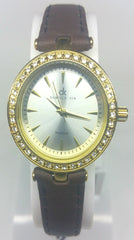 Diamond & Golden Case Watch - With Brown Leather Strap