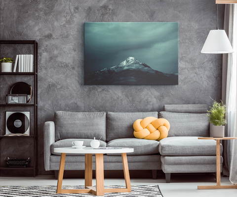 Black & Teal Mountain - Blend On Canvas