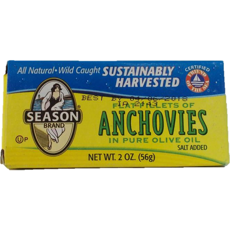 Season Flat Anchovies In Olive Oil 56G
