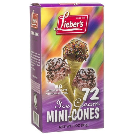 Liebers Mini Ice Cream Cones 72 Pack