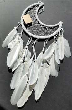 "8 1-2"" Half Moon White Dream Catcher"