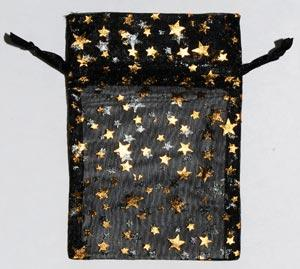 "2 3-4"" X 3"" Black Organza Pouch With Gold Stars"