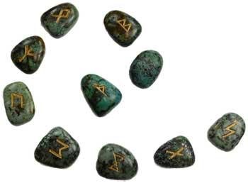 African Turquoise Rune Set
