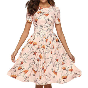 Chic Boutique Clothing Pink / S / China Fashion Womens bohemian dress Casual vestido de festa Rose sukienki damskie Print O-Neck Short Sleeve Mini Dress 33013272735_1052_100014064_201336100