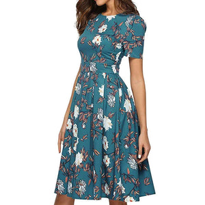 Chic Boutique Clothing Green / S / China Fashion Womens bohemian dress Casual vestido de festa Rose sukienki damskie Print O-Neck Short Sleeve Mini Dress 33013272735_175_100014064_201336100