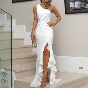Chic Boutique Clothing FeiTong Sexy one shoulder women dress Elegant ruched ruffle side split hem white party dress Fashion ladies summer dress 2019