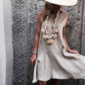 Chic Boutique Clothing Women summer dress Short Sleeve O Neck Cotton Linen Bohe Casual Retro Dress ladies casual chic dresses vestidos de verano 2019