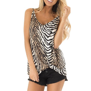 Chic Boutique Clothing Brown / S / China Zebra Print summer t shirt women new arrivals Knot shirt woman Loose Casual Sleeveless Tops vestidos de verano#G10 33001952143_365458_100014064_201336100