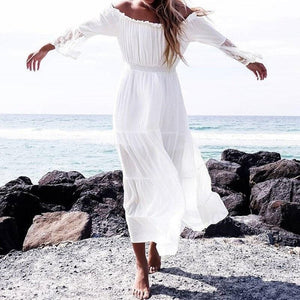 Chic Boutique Clothing Female Strapless Long Sleeve Sundress Women's White Beach Dress Summer Loose Sexy Off Shoulder Lace Boho Maxi Dress