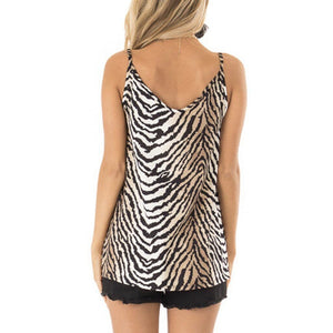 Chic Boutique Clothing Zebra Print summer t shirt women new arrivals Knot shirt woman Loose Casual Sleeveless Tops vestidos de verano#G10