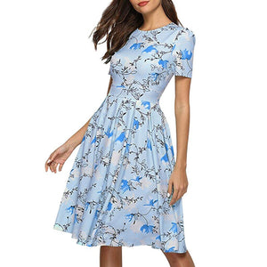 Chic Boutique Clothing Sky Blue / S / China Fashion Womens bohemian dress Casual vestido de festa Rose sukienki damskie Print O-Neck Short Sleeve Mini Dress 33013272735_1254_100014064_201336100