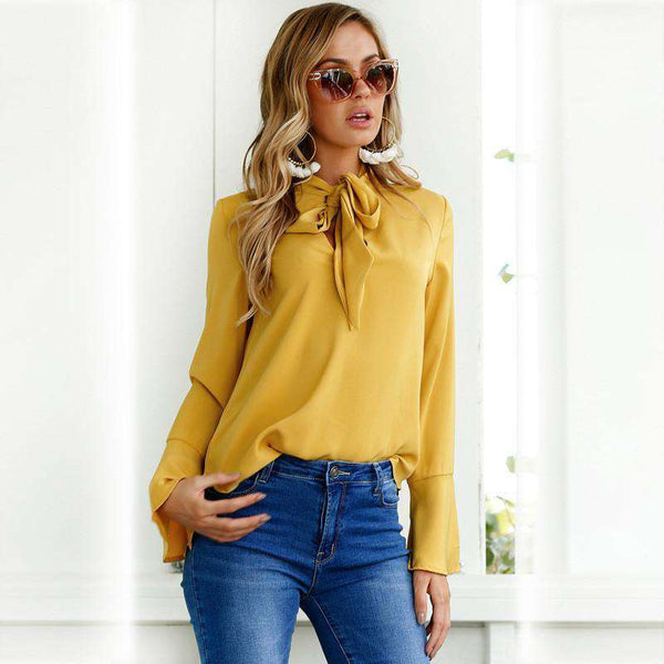 Chic Boutique Clothing Tops Yellow Bow Tie Neck Blouse
