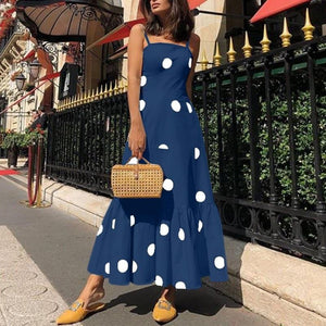 Chic Boutique Clothing Dresses Vintage Polka Dot Print Spaghetti Strap Dress