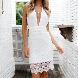 Chic Boutique Clothing Dresses Women backless beach summer hollow out dress High waist v neck Sleeveless short dress Sexy solid white lace dress