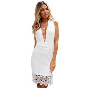 Chic Boutique Clothing Dresses White / L / China Women backless beach summer hollow out dress High waist v neck Sleeveless short dress Sexy solid white lace dress 27664806-white-l-china
