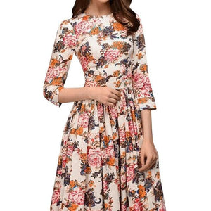 Chic Boutique Clothing Dresses A / L / China Floral Print Thin Vintage Knee Length Dress 27687728-a-l-china