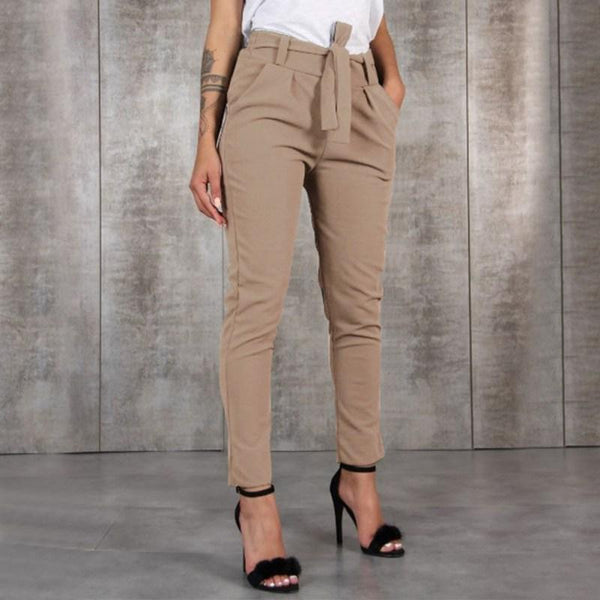 Chic Boutique Clothing Pants Women Wild Summer Cotton Casual Stretch Sashes Trousers Elastic Mid Waist Ankle-Length Loose Straight Pencil Pants with Belt