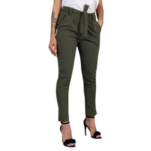 Chic Boutique Clothing Pants Green / XXL / China Women Wild Summer Cotton Casual Stretch Sashes Trousers Elastic Mid Waist Ankle-Length Loose Straight Pencil Pants with Belt 27691407-green-xxl-china