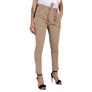 Chic Boutique Clothing Pants Khaki / XXL / China Women Wild Summer Cotton Casual Stretch Sashes Trousers Elastic Mid Waist Ankle-Length Loose Straight Pencil Pants with Belt 27691407-khaki-xxl-china