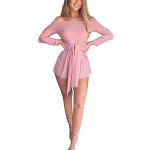 Chic Boutique Clothing Pink / S / China Boho Long Sleeve Off Shoulder Jumpsuits 13463774-pink-s-china