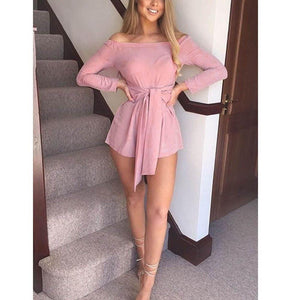 Chic Boutique Clothing Boho Long Sleeve Off Shoulder Jumpsuits