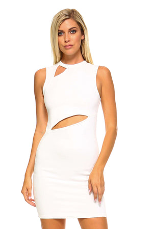 Chic Boutique Clothing Dresses Large / White Women's Sleeveless Dress with Slits MM7863-WHT-L