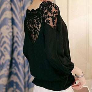 Chic Boutique Clothing Tops 3\4 Sleeve Lace Hollow Chiffon Blouse