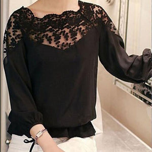 Chic Boutique Clothing Tops Black / L / China 3\4 Sleeve Lace Hollow Chiffon Blouse 14941144-black-l-china