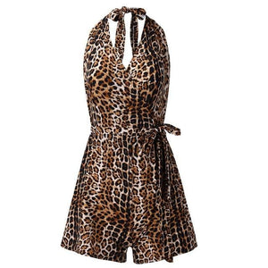 Chic Boutique Clothing Jumpsuits & Rompers Brown / L / China V-Neck Leopard Print Sleeveless Short Playsuit 23666029-brown-l-china