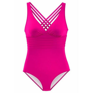 Chic Boutique Clothing Swimwear Pink / S / China V-Neck High Waist Bodysuits Swimwear 23692785-pink-s-china