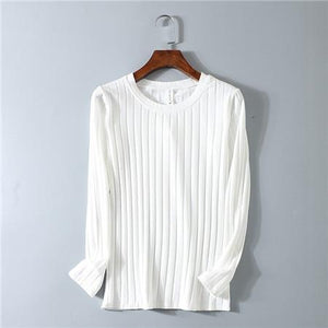 Chic Boutique Clothing D00108 white / M O Neck Striped Elastic T Shirt 17544580-d00108-white-m