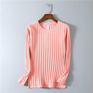 Chic Boutique Clothing D00108 pink / M O Neck Striped Elastic T Shirt 17544580-d00108-pink-m